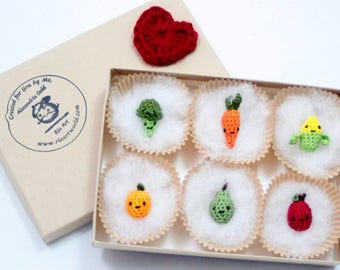 Miniature Crochet Amigurumi Fruit and Veggie Critter Magnet Set Miniature Crochet Magnets Miniature Crochet Animals Crochet Keychain