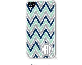Personalized iPhone Case Custom Monogram Case iPhone 4 5 5s 5c 6 6s 6 Plus, Samsung Galaxy S4 S5 S6 Tough Phone Case Ikat Chevron style 235