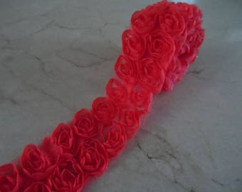 1 meter Ribbon double red organza flower lace