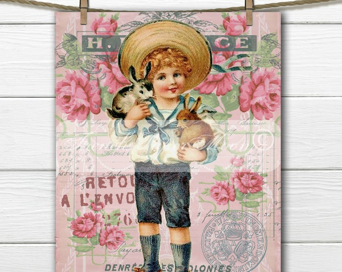 Adorable Shabby Chic Digital Easter, Boy with Bunnies, Roses, French Easter Graphic, French Easter Pillow Transfer Image, Download