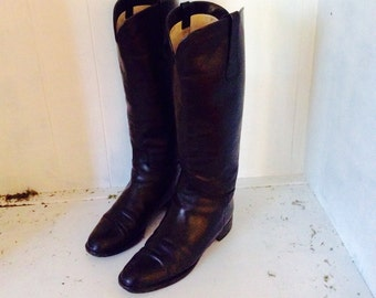 """Black Leather Riding Boots Vintage 1990's  """" On 5'Th """" Leather Black Boots Size 8 Riding Style Boots Italian Boots"""