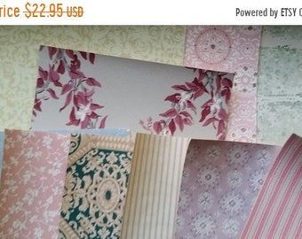 ON SALE Antique and Vintage Shabby Chic Geometric Wallpaper   Scrap Pack   Paper Samples   LAST Ones