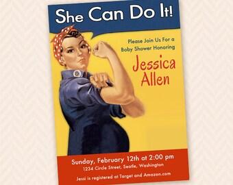 Rosie the Riveter Retro Baby Shower Invitation Design