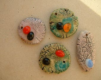 (Beads and pendants) glazed ceramic charms with fusing cabochons