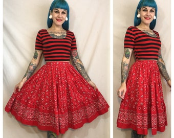 Vintage 1950's Bandana Print Skirt