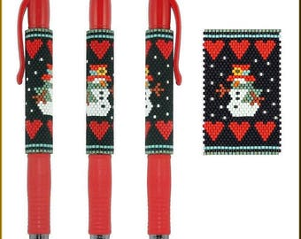 Snowman Love Pilot G-2 Pen Cover Peyote Pattern by Kristy Zgoda