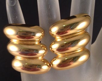Gold Designer Earrings by Napier Combination Clip on and Screw On,  1 Inch Wide & 1 Inch Long Previously 18 Dollars ON SALE