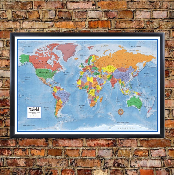 24x36 world classic premier 3d wall map poster foam cork board like this item sciox Image collections