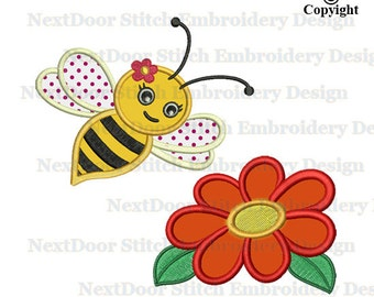 Bumble bee fly to flower applique, machine embroidery design, spring time bumblebee download, bee-003