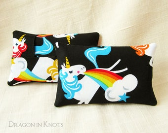 Unicorn Small Tissue Holder - Pocket Tissue Cover, Rainbow and Stars, Magical Fantasy Animal, Black Cotton Accessory fits in purse/backpack