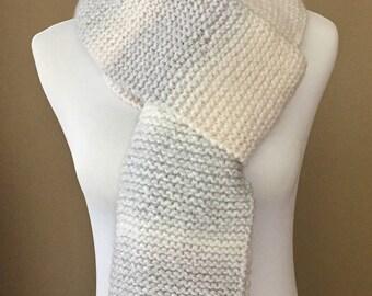 Arctic Knit Scarf, handmade scarf, long scarf, gray scarf, white scarf
