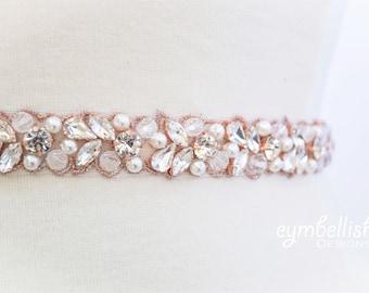 Rose Gold Thin Crystal Rhinestone and pearl bridal Belt- Rose Gold Bridal sash or Bridesmaids Belt- Thin Embellished Pageant Belt -EYM B120