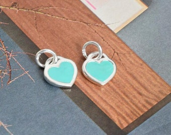 2 pcs sterling silver heart tag charm pendant