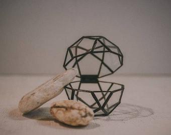 Wedding ring box, geometric glass box, engagement ring box, casket, ring box