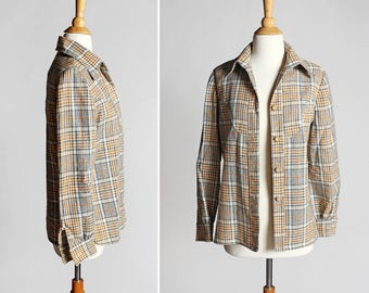 Vintage 1970's Button Up Plaid -  Tan Yellow White Boxy Blouse Wool Long Sleeve Handmade Flannel Style Top Shirt Woven- Size Medium or Large