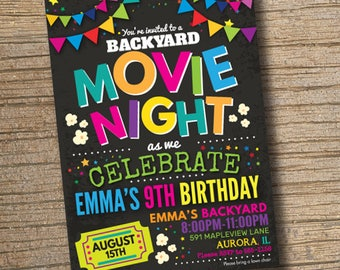 Movie Night Invitations, Movie Birthday Invitations, Backyard Movie Party, Movie  Party Invitation Chalkboard