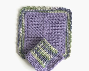 Crochet Dishcloth, Set of Two Purple and Green Dish Cloths, Cotton Washcloth, Handmade Wash Cloth