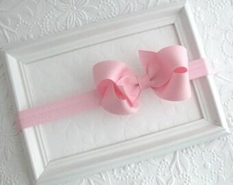 Baby Headband, Lt Pink Bow Headband, Infant Headband, Newborn Headband, Bow Headband, Pink Bow Headband, Pink Hair Bow Baby Headband