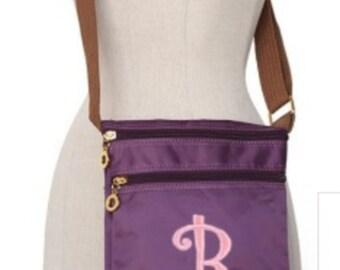 Monogram Purple Nylon Fabric Crossbody Bag