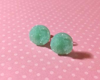 Mint Green Druzy Studs, Pastel Green Stud Earrings, Mint Green Drusy Studs, Druzy Jewelry, Surgical Steel Studs, KreatedByKelly (SE5)