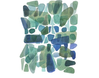 Broken glass giclee  watercolor painting nature inspired green emerald sea glass painting