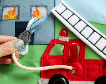 Felt Fire Truck with House that Catches Fire! - Things that Go Quiet Book PATTERN