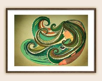 "Surf Art Print - Beach Art - Ocean Art - Sea Art - ""Paradise is a State of Mind"""