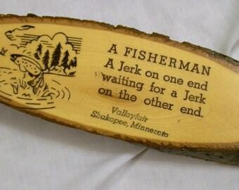 Vintage Tourist Souvenir, Fisherman Plaque, Wood Plaque, A Fisherman, Man Cave, Minnesota