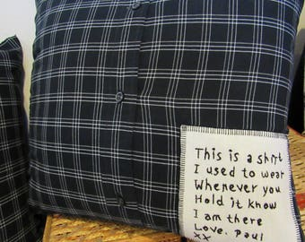 Custom Hand Embroidered Memory Pillow from Your Beloved Shirt Dress Blanket T-shirt Quilt OOAK You Design Pillow and Cover included