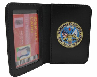U S Army Medallion Leather ID Card Contractor License Credit Holder