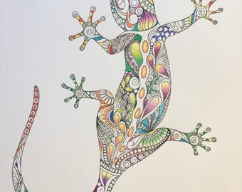 Zentangle lizard,colored lizard,colored zentangle,bright lizard,wall, lizard art,wall decor, reptile art,pencils ink,zentangle art,