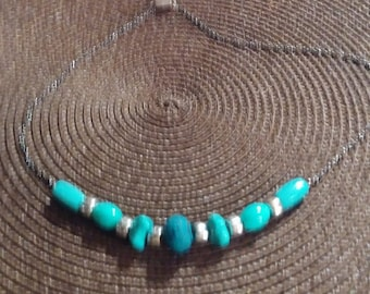 Turquoise Gunmetal Necklace