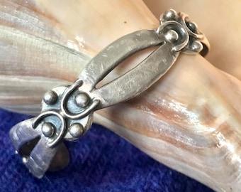 Vintage Taxco Sterling Silver Cuff Bracelet - Taxco Jewelry, Taxco Silver Cuff Bracelet, Mid Century Taxco Sterling Silver Cuff Bracelet,