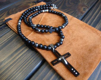 Men necklace cross Natural Stone Jewelry Set Gemstone jewelry for man Beaded necklace Men gift ideas christmas gifts for him dad son