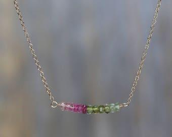 watermelon tourmaline gemstone bar necklace rainbow gemstone bar necklace gift for her rainbow tourmaline October birthstone