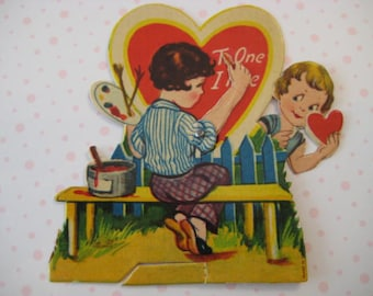 Vintage Valentine's Day Card / Artist / Painting / Young Lovers / 1930's Ephemera / Mechanical / Die Cut / Lithograph