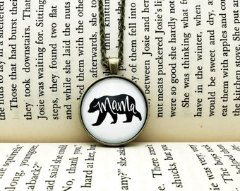 Mama bear necklace - mom necklace - gift for mom - mom life necklace - mama bear pendant - mothers day gift - mama bear jewelry - black bear