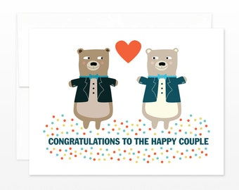 Gay Wedding Card - Tuxedo Bears Greeting Card - Gay Wedding Gift - Gay Engagement Card - Gay Anniversary Card - Mr. & Mr. Congratulations