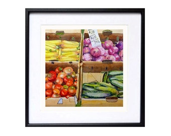 Vegetable art prints, Fine Art Print, Harvest art, Farmers market, Vegetable art, Colorful vegetables, Watercolor painting, Kitchen artwork