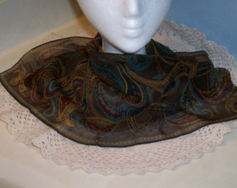 Brown Silk Scarf Talbots
