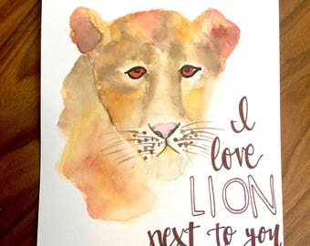 I Love Lion Next to You watercolor card