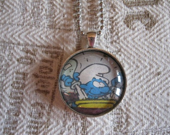 "Old Papers - ""Smurf"" glass cabochon necklace - upcycled gift idea"