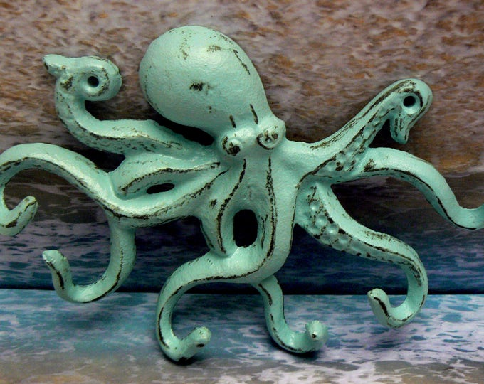 Octopus Cast Iron Tentacle Wall Hook Blue Shabby Chic Cottage Chic Beach Nautical Home Decor