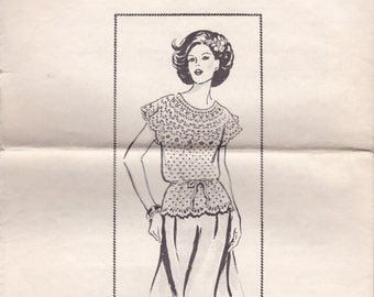 Fancy Crocheted Blouse Pattern 458 Sizes 8 - 14