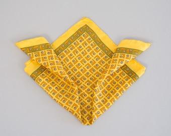 70s Italian Silk Pocket Square - Vintage Seventies Yellow Silk Pocket Square with Hand Rolled Hem Yellow Green and Orange Geometric Print
