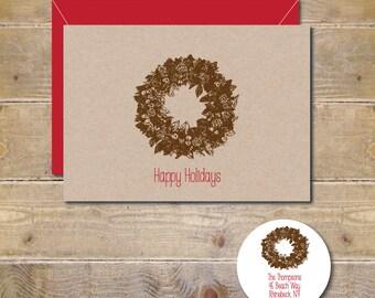 Rustic Christmas Cards, Wreath, Christmas Wreath,  Christmas, Christmas Cards, Handmade, Holiday Cards, Christmas Card Set