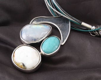 Genuine turquoise Moonstone on Silver 925/1000th amber large necklace