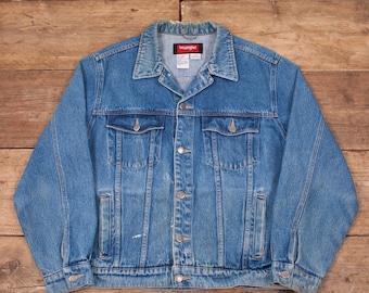 "Mens Vintage Wrangler Hero Stonewash Blue Denim Trucker Jacket Large 46"" R6023"