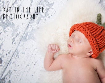 Pumpkin Hat pdf PATTERN (digital download), crochet, photo prop, size newborn to adult, beanie