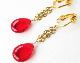 Red Teardrop Clip On Earrings, Brass Filigree Bar, Gold Ear Clips, Bright Red Glass Drop Clip Earrings, Handmade, Fancy Cherry Drop